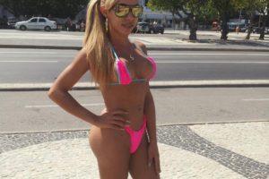 tranny wearing a pink bikini
