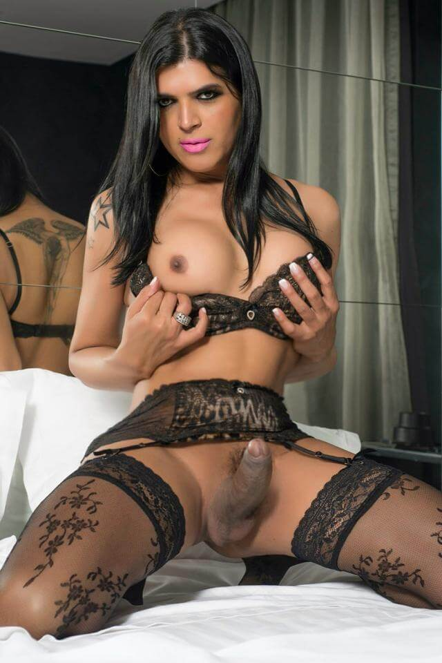 tranny in lingerie with a erection